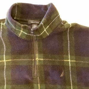 Vintage NAUTICA Fleece plaid Pullover Zip Jacket